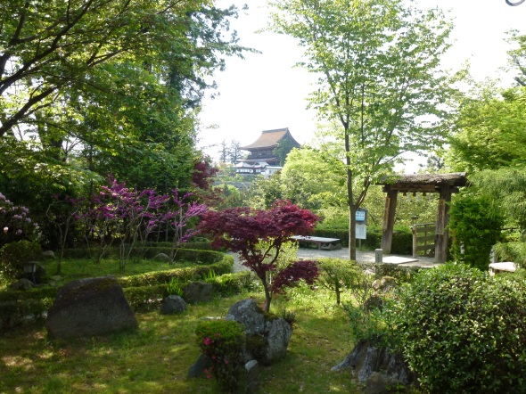 The garden in which Hideyoshi sat.