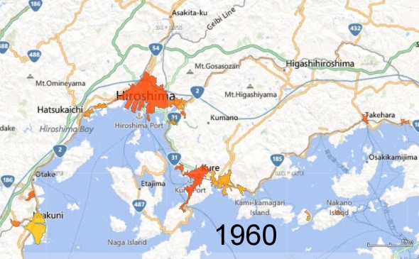 Hiroshima, Kure, and Iwakuni Metro Areas, 1960