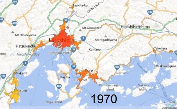 Hiroshima, Kure, and Iwakuni Metro Areas, 1970