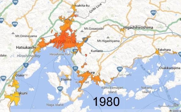 Hiroshima, Kure, and Iwakuni Metro Areas, 1980