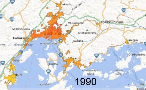 Hiroshima, Kure, and Iwakuni Metro Areas, 1990