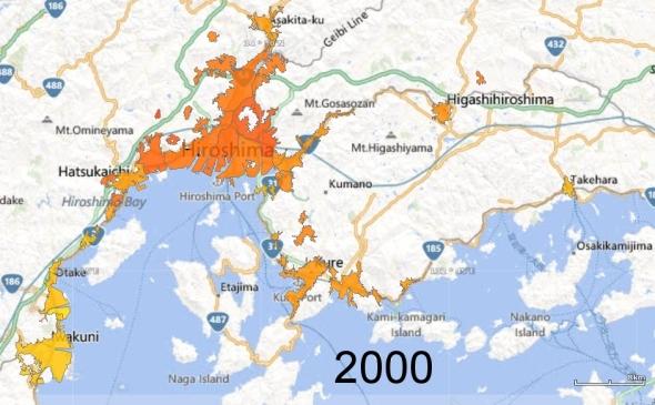 Hiroshima, Kure, and Iwakuni Metro Areas, 2000