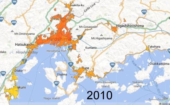 Hiroshima, Kure, and Iwakuni Metro Areas, 2010