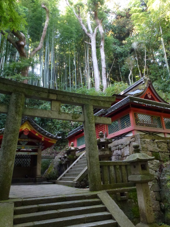 A striking sub-shrine in a steep clearing on the side of the hill.