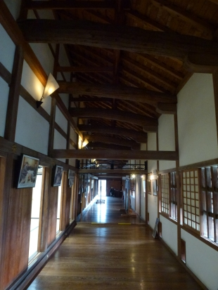 Inside the hall.